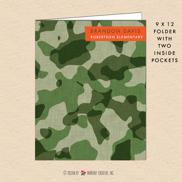 Cool Camouflage - Personalized Pocket Folder - inkberrycards