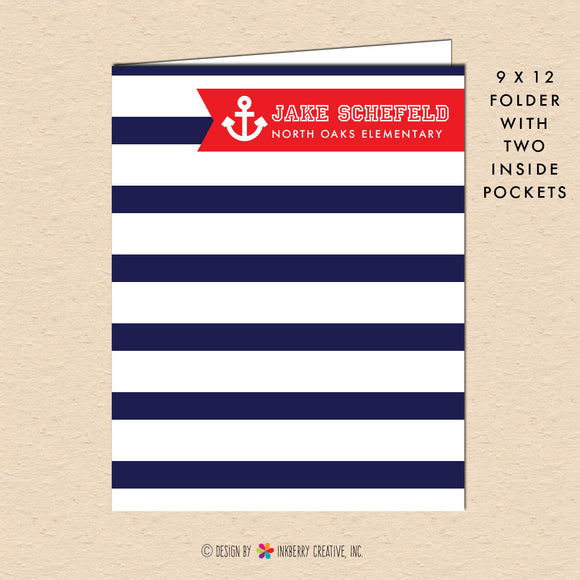 Boy's Nautical Stripe - Navy & Red - Personalized Pocket Folder - inkberrycards