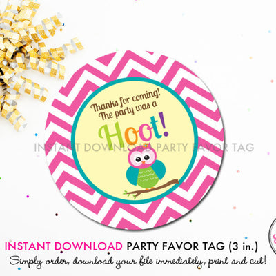 Bright Chevron Owl - Printable 3 inch Birthday Party Favor Tags - Instant Download PDF File - inkberrycards