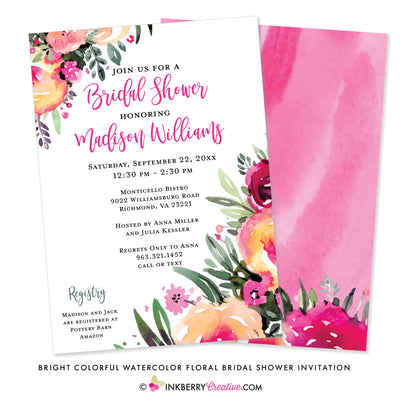 Bright and Colorful Watercolor Painted Floral Bridal Shower Invitation