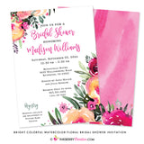 Bright and Colorful Watercolor Painted Floral Bridal Shower Invitation - inkberrycards