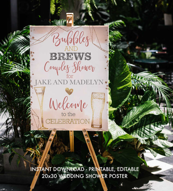 Bubbles and Brews Shower - Welcome Sign - Printable, Editable