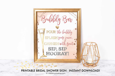 Bubbles and Brews Shower - Bubbly Bar Menu Sign - Wine Bar Menu Sign - Printable, Editable