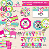 girls carnival birthday printable party
