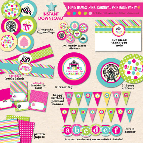 Fun & Games Girl's Carnival Birthday - DIY Printable Party Pack
