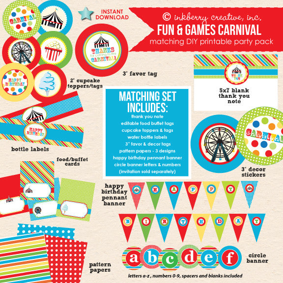 Fun & Games (Primary Colors) Carnival Birthday - DIY Printable Party Pack