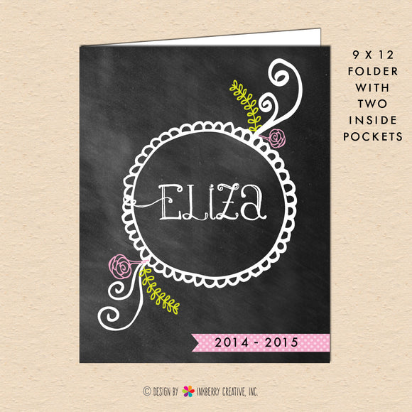 Chalkboard Doodle - Personalized Pocket Folder - inkberrycards