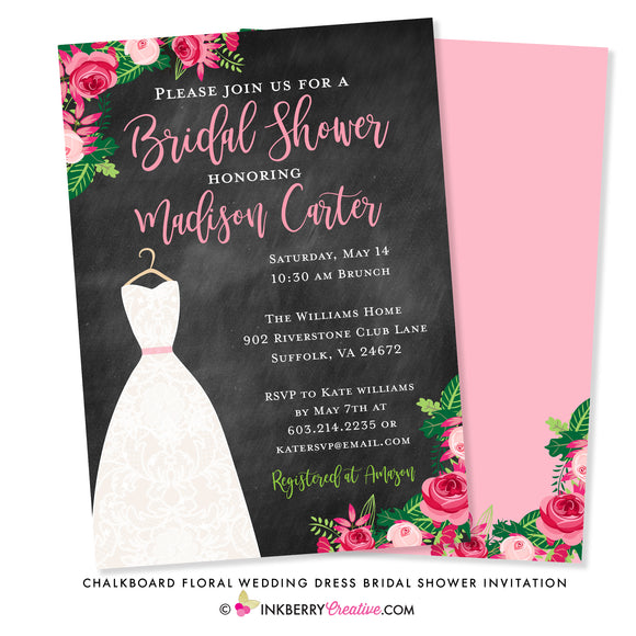 Chalkboard Floral Wedding Dress Bridal Shower Invitation - inkberrycards