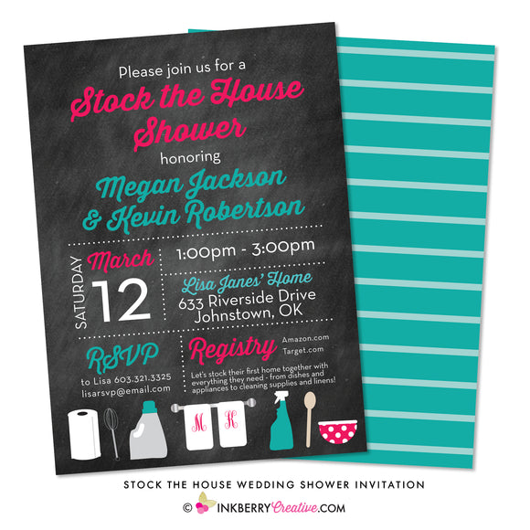 Stock the House (Chalkboard) Couple's Wedding Shower Invitation - inkberrycards