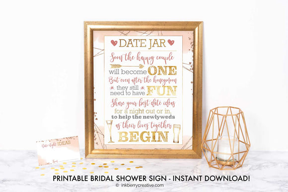 Bubbles and Brews Shower - Date Night Jar Sign, Date Night Cards - Printable