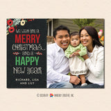 Floral and Linen Christmas Photo Card