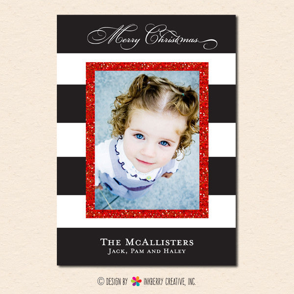 Black & White Stripe Glitter Frame - Christmas Photo Card