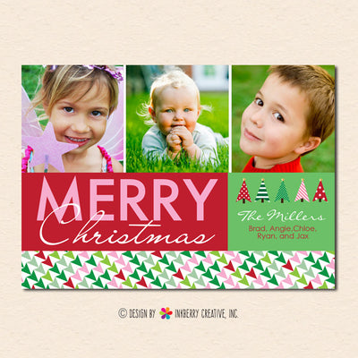 Geometric Christmas Trees Christmas Photo Card - inkberrycards
