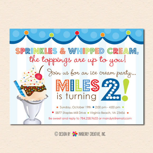 Sprinkles on Top, Ice Cream Sundae Birthday Party Invitation (Boys) - Sprinkles, Sundae, Ice Cream Party Invite
