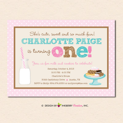 Milk and Cookies Party Invitation - Girls Pink Chocolate Chip Milk Cookies Birthday Party Invite - Digital File OR Printed Cardstock Cards