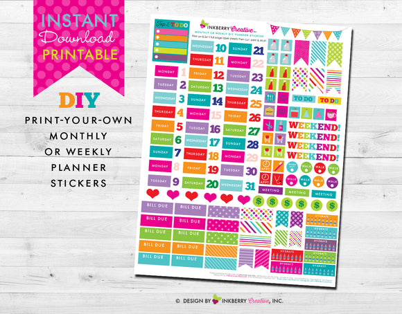 Printable Planner Stickers - Instant Download - Bright, Colorful, Monthly or Weekly Planning Stickers for Erin Condren, Happy Planner & More - inkberrycards