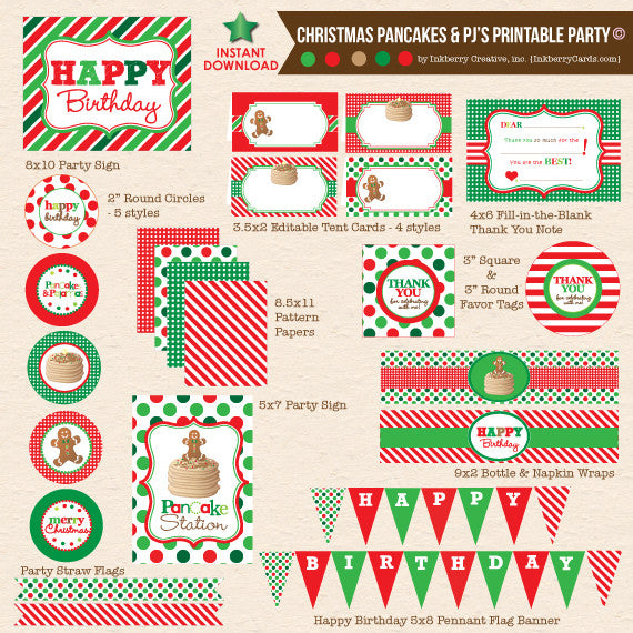 Christmas Pancakes & Pajamas Birthday - DIY Printable Party Pack - inkberrycards