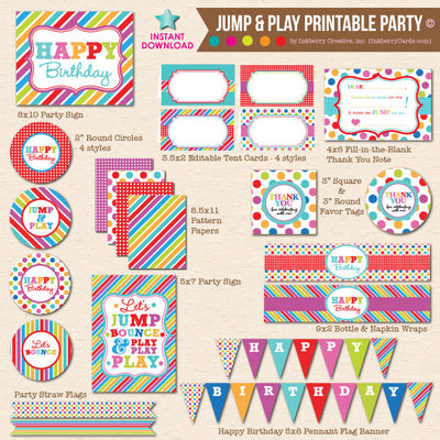 Jump, Play and Bounce - DIY Printable Party Pack