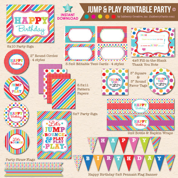Jump, Play and Bounce - DIY Printable Party Pack - inkberrycards