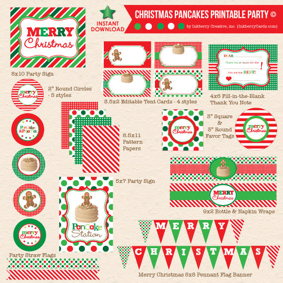 Christmas Pancakes & Pajamas Party - DIY Printable Party Pack - inkberrycards