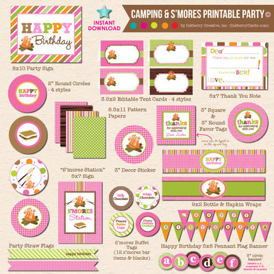 Girl's Camping & S'mores Birthday - DIY Printable Party Pack - inkberrycards