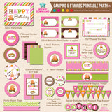 Girls S'mores and Camping Birthday Party Invitation