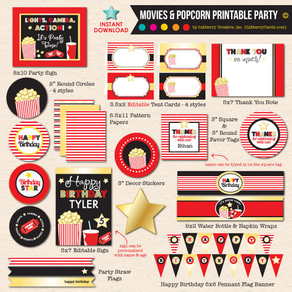 Movies & Popcorn Birthday Party - DIY Printable Party Pack - inkberrycards