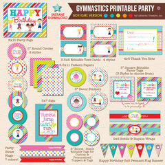 Boy / Girl Combo Gymnastics Birthday - DIY Printable Party Pack