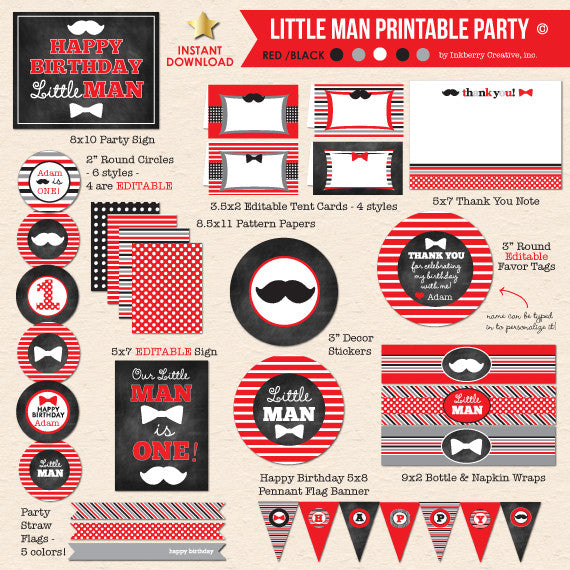 Little Man Bow Ties & Mustache Birthday - DIY Printable Party Pack