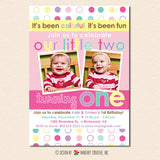 Colorful Fun Year Twin Girls First Birthday Party Invitation - Polka dot Twin 1st Birthday Photo Invitation (Digital or Printed on Cardstock)