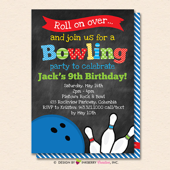 Bowling Birthday Party Invitation - Printable, Instant Download, Editable, PDF