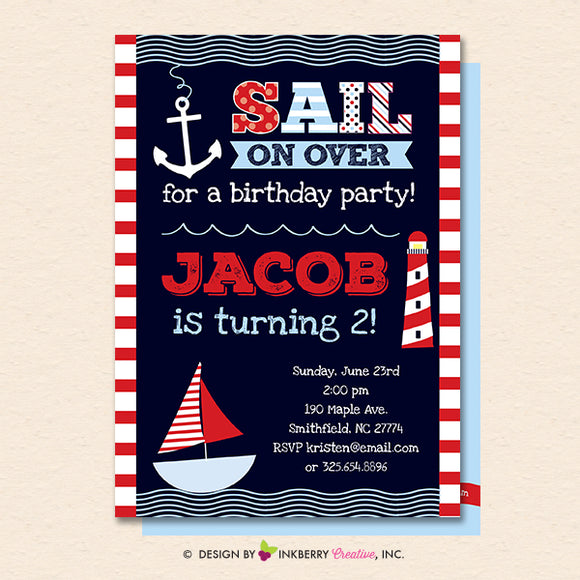 Nautical Birthday Party Invitation - Nautical, Sailing, Sailboat, Printable, Instant Download, Editable, PDF - inkberrycards