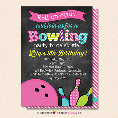 Girls Bowling Birthday Party Invitation - Printable, Instant Download, Editable, PDF - inkberrycards