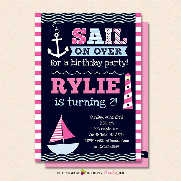 Girls Nautical Birthday Party Invitation - Girls Nautical, Sailing, Sailboat, Printable, Instant Download, Editable, PDF