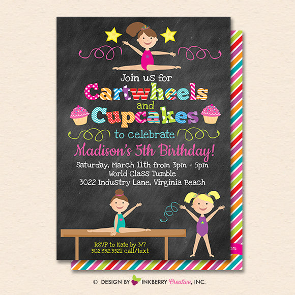 Gymnastics Party Invitation (Chalkboard) - Cartwheels and Cupcakes Gymnastics Birthday Party Invite - Printable, Instant Download, Editable, PDF - inkberrycards