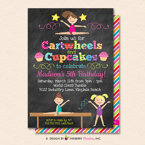 Gymnastics Party Invitation (Chalkboard) - Cartwheels and Cupcakes Gymnastics Birthday Party Invite - Printable, Instant Download, Editable, PDF