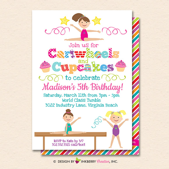 Gymnastics Party Invitation (White) - Cartwheels and Cupcakes Gymnastics Birthday Party Invite - Printable, Instant Download, Editable, PDF