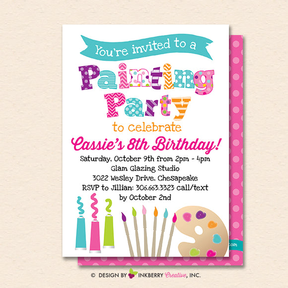 Painting Party Invitation (White) - Kids Art Painting Birthday Party Invite - Printable, Instant Download, Editable, PDF - inkberrycards
