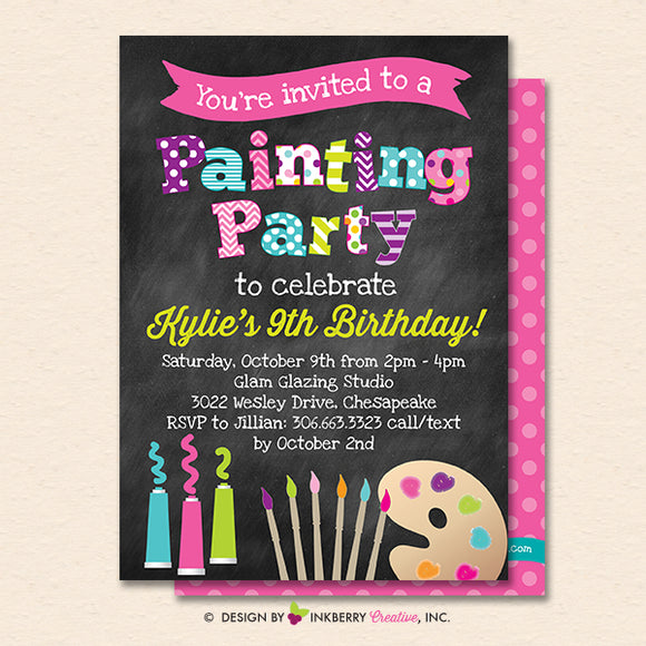 Painting Party Invitation (Chalkboard Style) - Kids Art Painting Birthday Party Invite - Printable, Instant Download, Editable, PDF - inkberrycards
