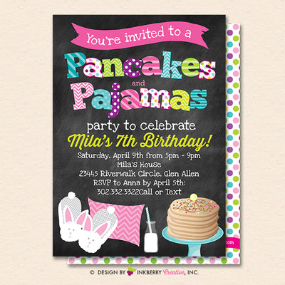 Pancakes And Pajamas Party Invitation Chalkboard Style Kids Pancakes Pajama Birthday Party Invite Printable Instant Download Editable Pdf