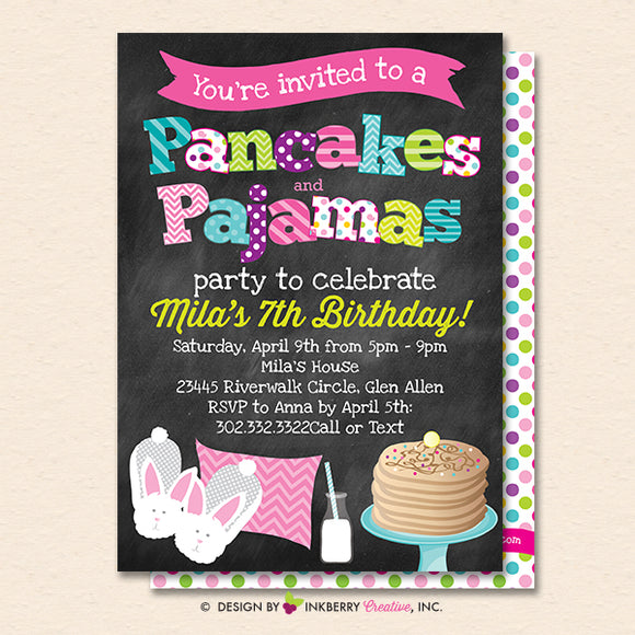 Pancakes and Pajamas Party Invitation (Chalkboard Style) - Kids Pancakes Pajama Birthday Party Invite - Printable, Instant Download, Editable, PDF - inkberrycards