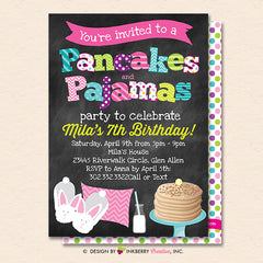 Pancakes and Pajamas Party Invitation (Chalkboard Style) - Kids Pancakes Pajama Birthday Party Invite - Printable, Instant Download, Editable, PDF