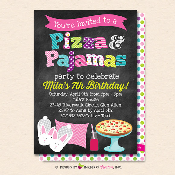 Pizza and Pajamas Party Invitation (Chalkboard Style) - Kids Pizza Pajama Birthday Party Invite - Printable, Instant Download, Editable, PDF