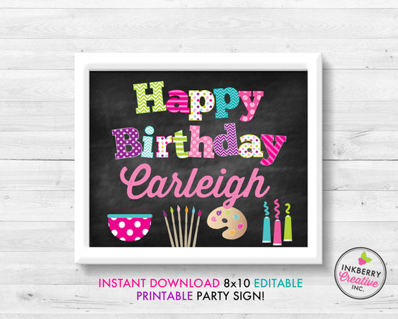 Pottery Painting Art Birthday Party Happy Birthday, 8x10, Editable, Printable PDF Party Sign