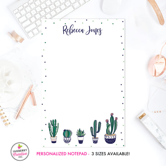 Personalized Notepad - Navy Green Cactus - 3 Sizes Available - Small, Medium or Large - Customized with name, monogram or colors