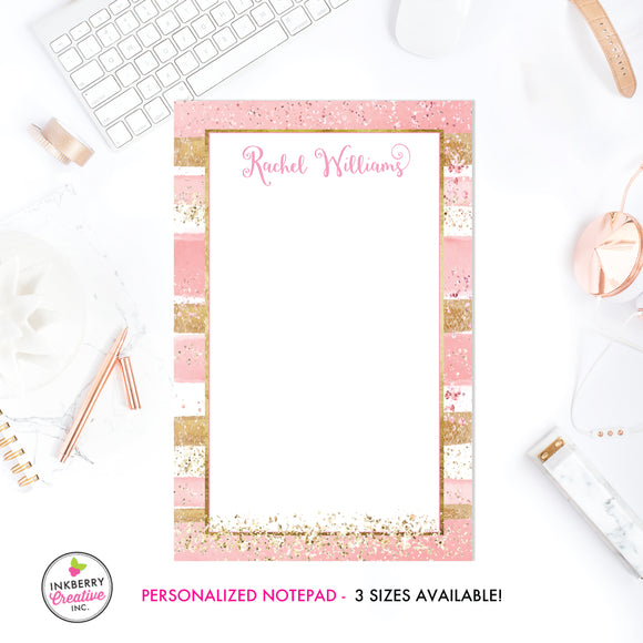 Personalized Notepad - Pink Gold Glitter Stripe - 3 Sizes Available - Small, Medium or Large - Customized with name, monogram or colors