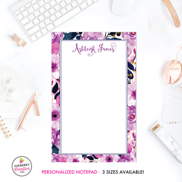 Personalized Notepad - Purple Navy Floral - 3 Sizes Available - Small, Medium or Large - Customized with name, monogram or colors