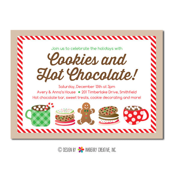 Christmas Cookies & Hot Chocolate - Holiday Party Invitation - inkberrycards