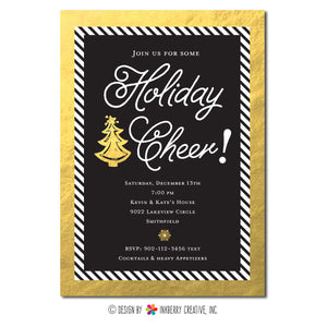 Holiday Cheer - Gold, Black and White Striped Christmas Party