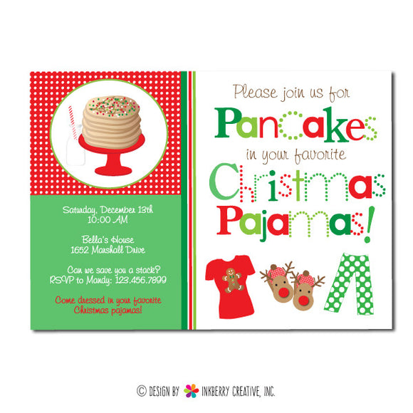 Christmas Pajamas and Pancakes Party Invitation